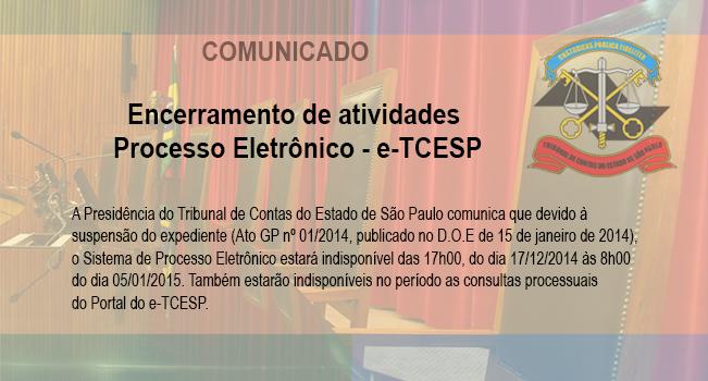 Comunicado - Sistema de Processo Eletrônico